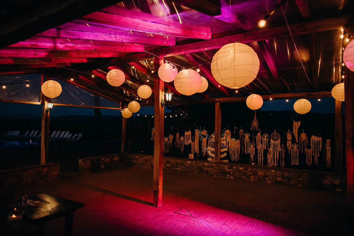 outdoor party area for wedding