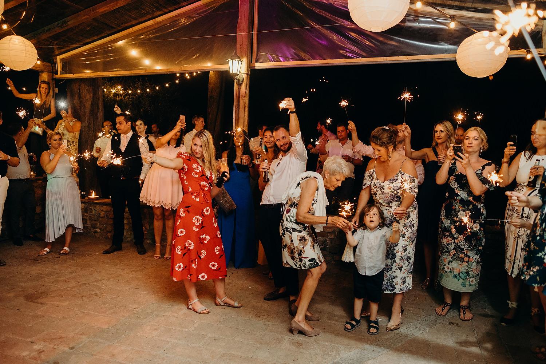 sparklers at Italian wedding