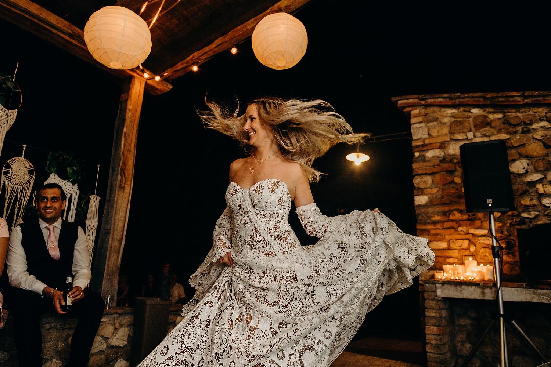 bride dancing with Rue De Seine Dress