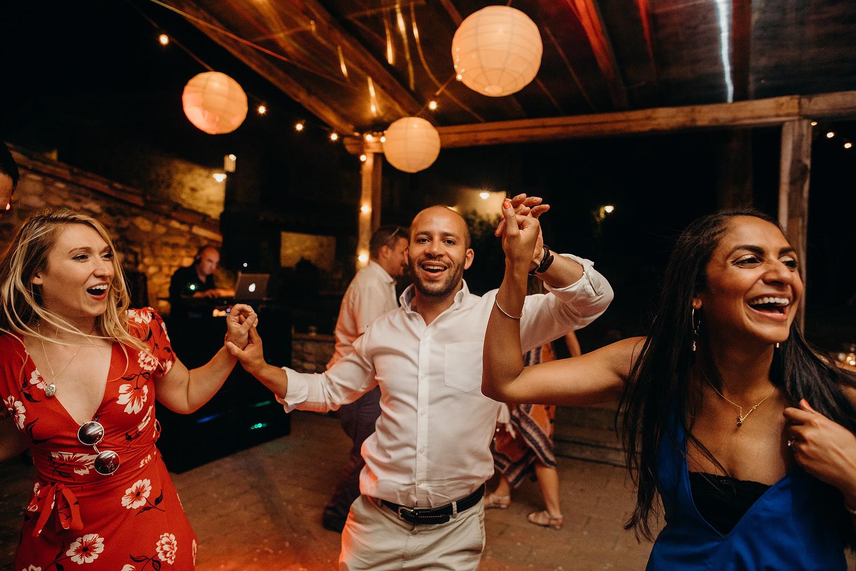 Guests dancing at Fattoria La Loggia