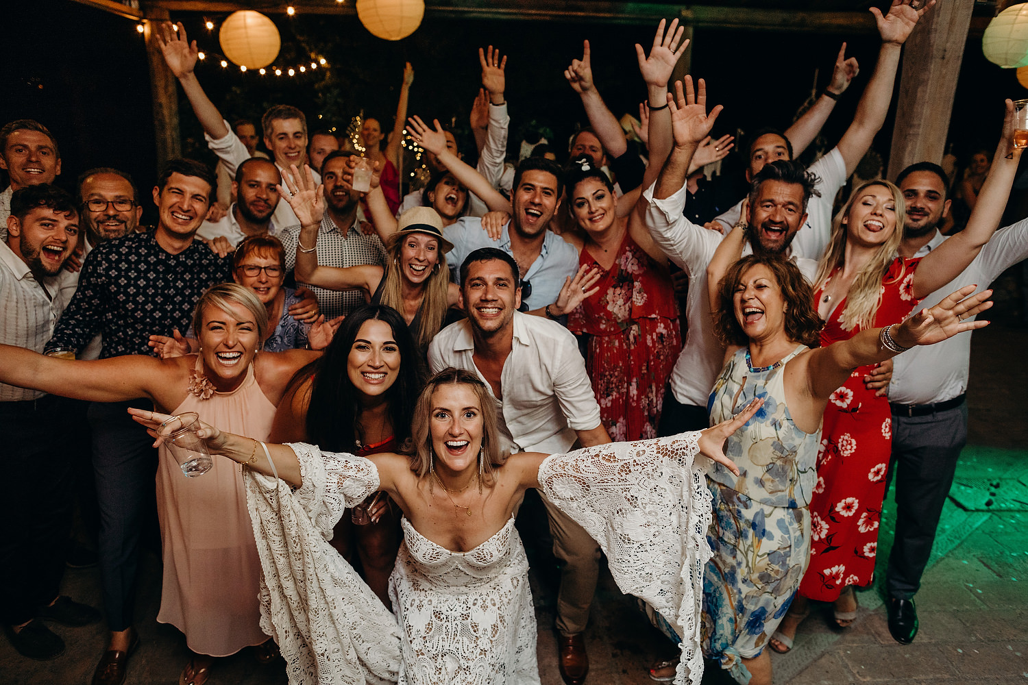 Group photograph of wedding guests